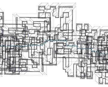 "Deborah Wang, Unfolding Space: Labyrinth 1, 2009, 8.5 x 30"" colour inkjet print [Based on Labyrinthine Tour No.1]"
